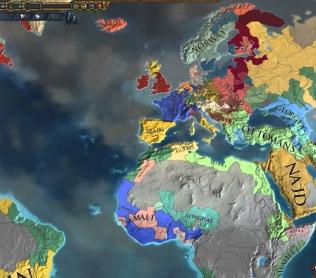 Вид сверху на глобальную карту